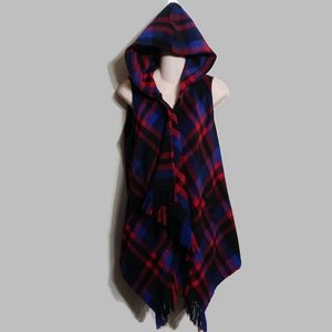 Jolt red and plaid flannel open front swing vest